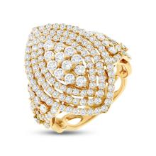 Natural 2.22ct Diamond Lady's Ring 18K Yellow Gold - Ref#-270k2m