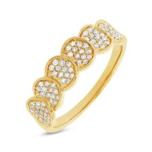 Natural 0.28ct Diamond Pave Lady's Ring 14K Yellow Gold - Ref#-46x2z