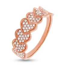 Natural 0.30ct Diamond Pave Heart Lady's Ring 14K Rose Gold - Ref#-48n2w