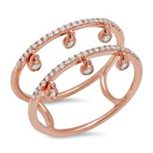 Natural 0.24ct Diamond Lady's Ring 14K Rose Gold - Ref#-53r2a