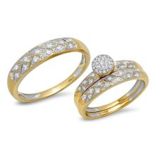 Natural 0.41ct Diamond Trio Set Pave 14K Yellow Gold - Ref#-94x2z