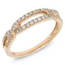 Natural 0.23ct Diamond Lady's Ring 14K Rose Gold - Ref#-51x2z