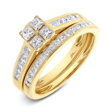 Natural 1.04ct Diamond Wedding Set Princess Cut 14K Yellow Gold - Ref#-137n2w
