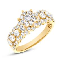 Natural 1.47ct Diamond Round Invisible Ring 18K Yellow Gold - Ref#-183r2a