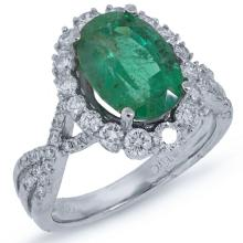Natural 0.86ct Diamond & 3.16ct Emerald Ring 18K White Gold - Ref#-391r2a