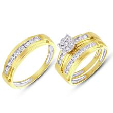 Natural 0.96ct Diamond Trio Set Round Invisible 14K Yellow Gold - Ref#-155n2w