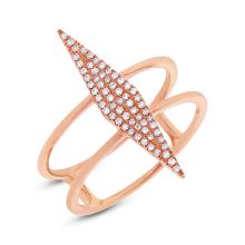 Natural 0.16ct Diamond Lady's Ring 14K Rose Gold - Ref#-46k2m
