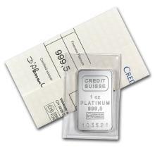 Fine Platinum Bar - 1 oz - Credit Suisse (.9995 Fine, w/Assay)