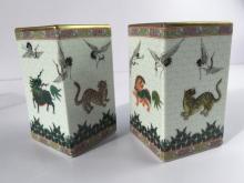 Pair of prism brush pot with animal designs