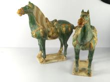 Pair of Chinese porcelain green horse