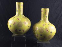 Pair of yellow porcelain bottled vase
