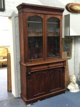 Elegant Victorian glass fronted bookcase cabinet
