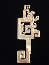 White Jade Amulet with Brown Skin Chinese Antique
