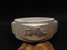 Neolithic Liangzhu Cultural Jade Shaman Cong Bell Amulet