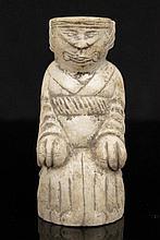 Sanxingdui Culture Old Jade Stone Amulet Animal Man Statue Chinese Antique #553