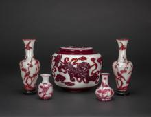 Qing - A GROUP OF FIVE WHITE OVERLAY RED _FLOWER,