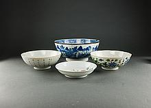 Late Qing. Blue And White and Famille Rose Glaze Bowles and Dish (3 Bowles, 1 Dish)