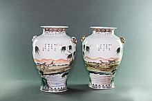 Republic. A Pair Of Famille Glaze 'Eight Horse' Double Beast Handle Vase