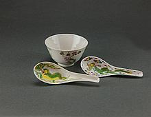 Late Qing/Republic. A Famille-Rose 'Floral' Bowl And Two 'Dragon And Phoenix' Spoons