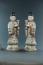 Late Qing. A Pair Of Famille -Rose Glaze Ladies Figure