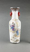 Republic . A Beautiful Famille Glaze 'Goddess Figure' Double Elephants Handle Vase