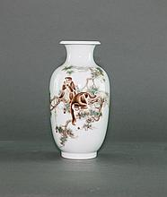 Early 20th Century. Bi YuanMing. A Famille -Rose Glaze 'Monkey' Vase