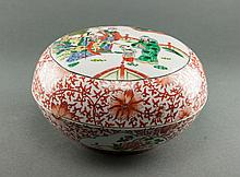 Early 20th Century. A Iron Red Floral Ground Famille -Rose Glaze  'Fu,Lu,Shou' Box And Cover