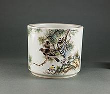 Liu YuCen Mark. A Famille Glaze Birds And Tree  Brush Holder