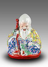Republic-Zhu Mao Ji Mark -A Famille Glaze Shou Statues