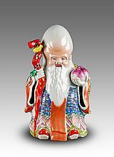 Republic-Zhu Mao Sheng Mark-A Famille Glaze Shou Statues