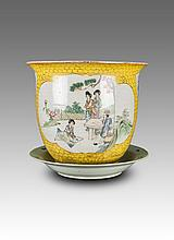 Early 20th Century-A Yellow Groud Famille 'Figure' Flower Pot