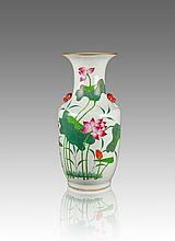 Late Qing-Fan Yougxing Mark-A famille Glaze  'Lotus Double Beast Handle Vase
