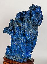 A Large Lapis Carved 'Fu, Lu, Shou'