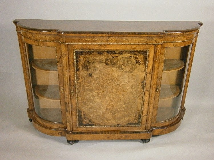 A Victorian burr walnut and marquetry credenza,