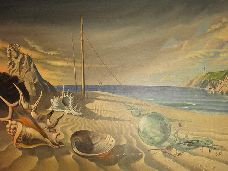 Jonathon X Coudrille (b.1945). Beach scene - oil