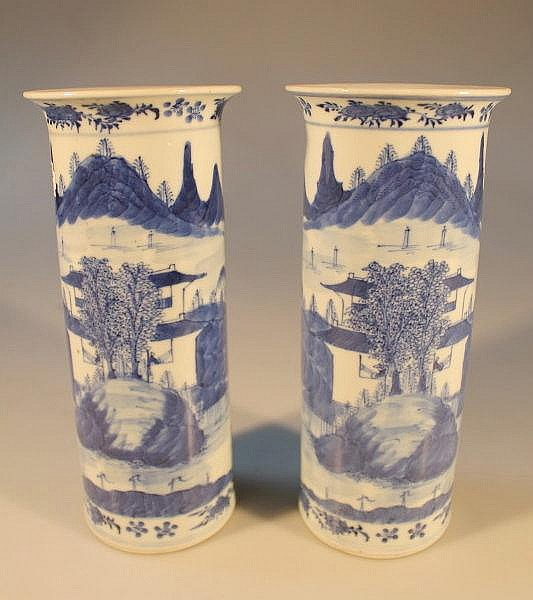 A pair of late 18thC Chinese blue and white