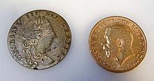 A George V gold half sovereign, 1911 and an In M