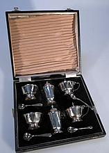A George V harlequin silver cruet set, by Adie B
