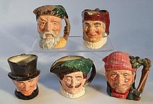 Five Royal Doulton character jugs, to include The