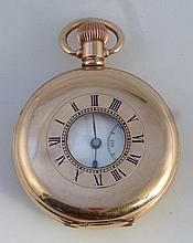 A gold plated half hunter pocket watch, the circ