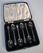 A set of six George VI silver teaspoons, by Fran
