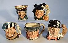 Five various Royal Doulton character jugs, to inc