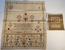 A mid-19thC pictorial and motto sampler, by Char