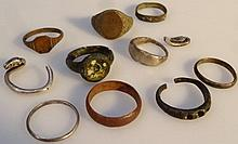 Various artifacts, to include a bronze ring 2.5c