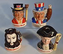 Four Royal Doulton whisky flasks, comprising Samu