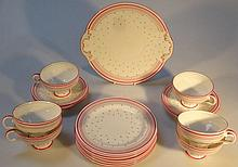 A Royal Doulton part tea service, in pink and gre