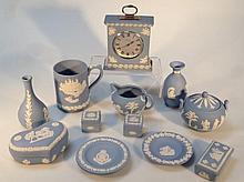 Various Wedgwood blue Jasperware, to include pin