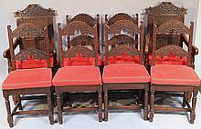 A harlequin set of eight oak dining chairs, compr