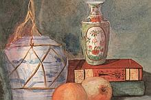 20thC School. Still life, vase, book and fruit, w