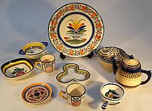 Various Quimper pottery, to include quaich, anoth